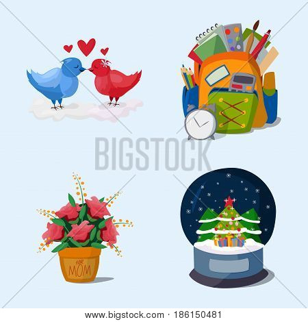 Happy holidays different icons vector holidays symbols decoration traditional celebration gift badge. Fashion cartoon style party colorful elements.