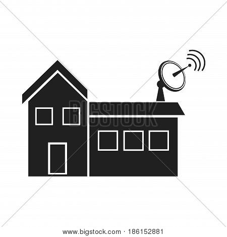 tv antennas and satellite dish for television mounted on the tiled roof of house vector illustration