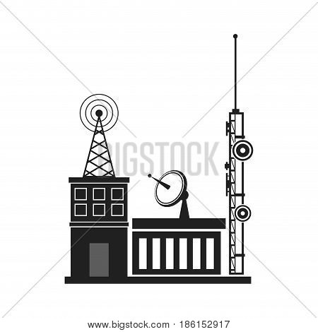 TV antennas and satellite dish for television mounted on the tiled roof of house isolated on blue sky background in countryside. Telecommunications aerials and receiver devices on rooftop of building