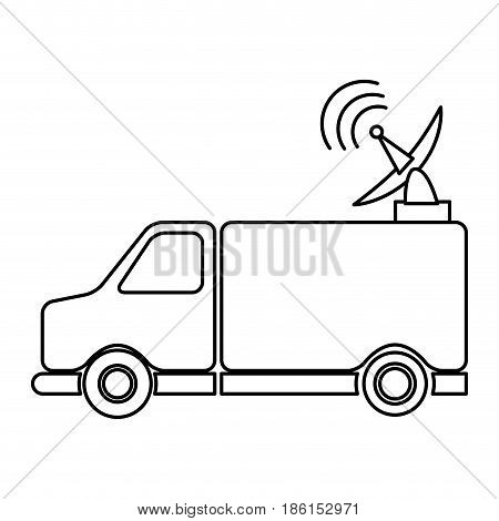 transmission truck tv antenna dish signal vector illusttration