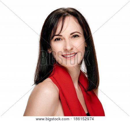 Portrait of cheerful brunette in red scarf isolated on white background