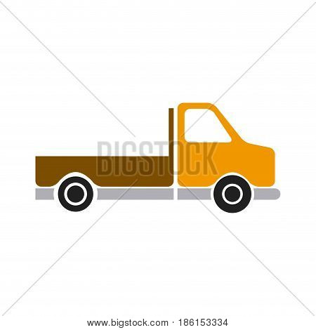pickup truck vehicle transport side view vector illustration