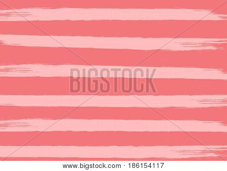 Striped pink texture. Rectangular background with lines drawn by brush. Grunge.