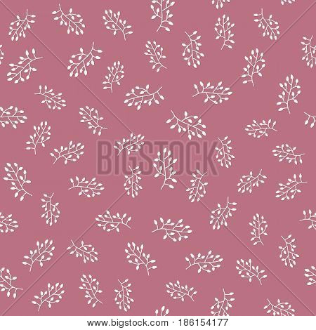 Chaotically scattered abstract silhouettes of branches with leaves. Seamless pattern. Vector illustration.