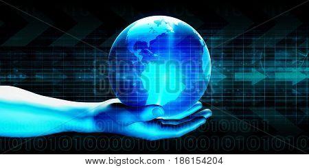 Digital Global Technology Concept Abstract Background 3D Illustration Render