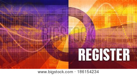 Register Focus Concept on a Futuristic Abstract Background