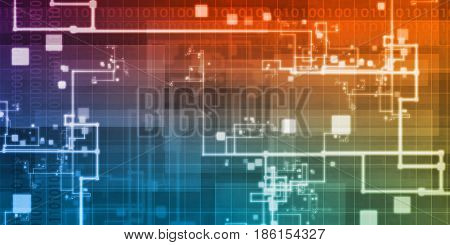 Binary Stream of Information Technology Communication Art