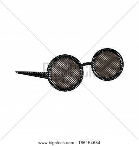 round sunglasses accessory female style outline vector illustration