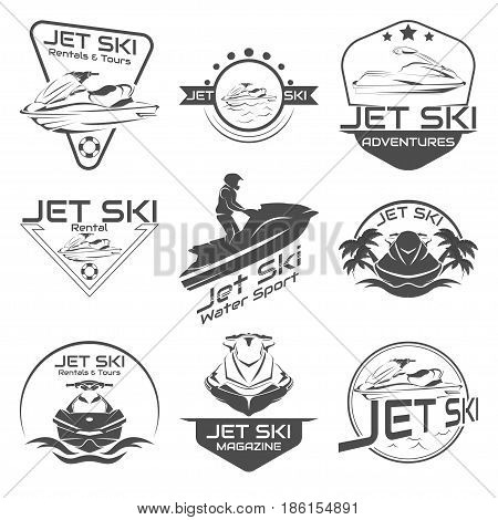 Set Logo jet ski, scooter on a white background