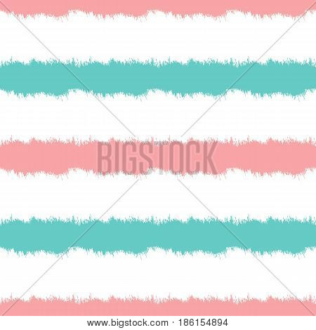 Colored striped background. Horizontal strips painted with a rough brush. Seamless pattern. Vector illustration. Blue pink white.
