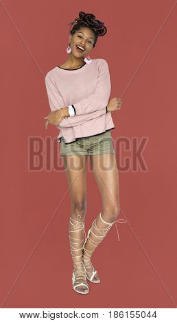 Happiness African Descent Woman Smiling