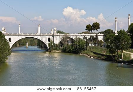 Rome, Italy-12, 2017 :  Tiber river and the Flaminio Bridge from Milvio Bridge