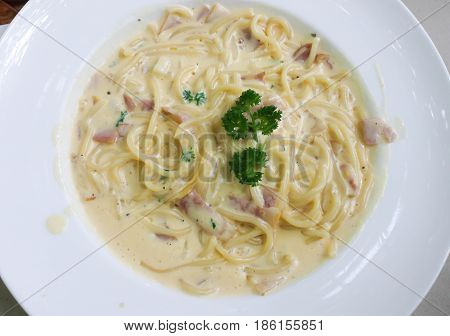 Closeup of Spaghetti Carbonara with bacon and cheese on the white dish