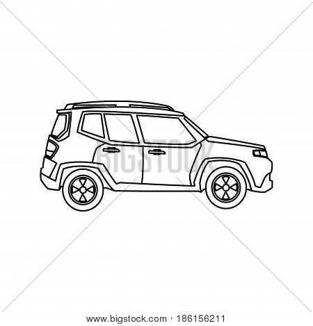 suv car automobile power motor outline vector illustration