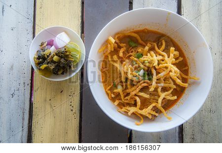 Khao Soi , Northern Thai Style Curried Noodle Soup with Chicken