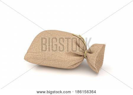 3d rendering of burlap money bag isolated on white background. Earning and spending money. Wealth and poverty. Bank deposits.