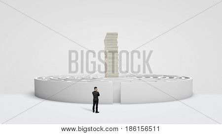 A small businessman standing in front of a white round maze where a huge stack of money bills towers at the center. Long way for money. Business rewards. Right way for success.