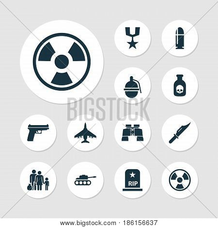 Warfare Icons Set. Collection Of Slug, Order, Rip And Other Elements. Also Includes Symbols Such As People, Mechanism, Bombshell.