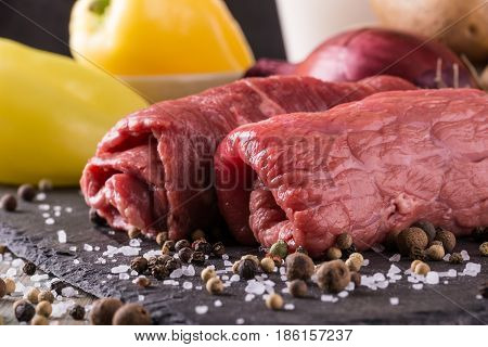 Couple Of Beef Slices Prepared For Roulade With Spice