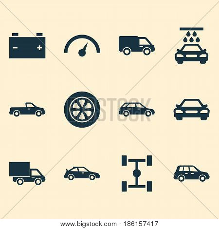 Car Icons Set. Collection Of Wheel, Accumulator, Crossover And Other Elements. Also Includes Symbols Such As Speedometer, Sports, Chassis.
