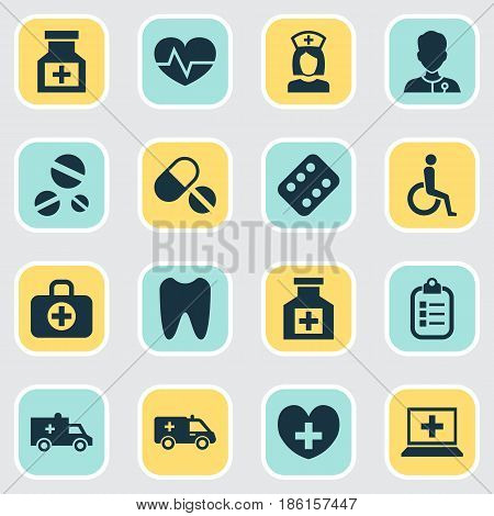 Medicine Icons Set. Collection Of First-Aid, Claw, Surgical Bag And Other Elements. Also Includes Symbols Such As Pulse, Database, Painkiller.