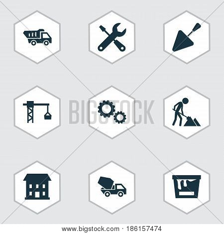 Architecture Icons Set. Collection Of Cement Vehicle, Home, Spatula And Other Elements. Also Includes Symbols Such As Hook, Mixer, Trowel.