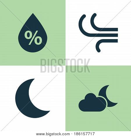 Climate Icons Set. Collection Of Moonlight, Breeze, Moisture And Other Elements. Also Includes Symbols Such As Crescent, Moonlight, Moisture.