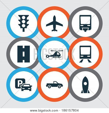 Transportation Icons Set. Collection Of Spaceship, Stoplight, Chopper And Other Elements. Also Includes Symbols Such As Traffic, Light, Monorail.