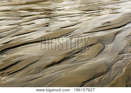 Patterns on the sand from running water. Melting snow in Siberia. Novosibirsk Region, the Ob Sea.