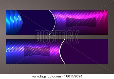 Horizontal Web Banner Background Blue Purple Neon Effect09