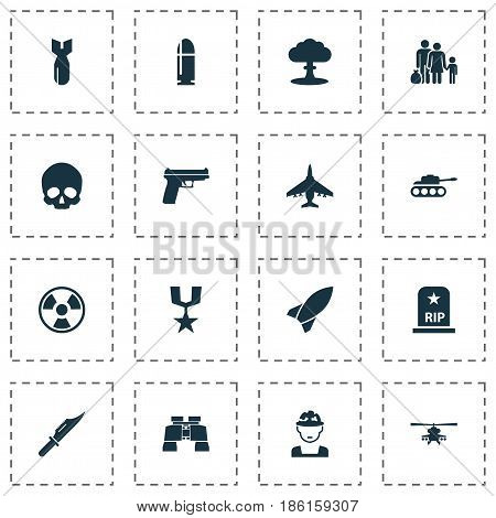 Warfare Icons Set. Collection Of Slug, Military, Weapons And Other Elements. Also Includes Symbols Such As Danger, Bomb, Oficer.