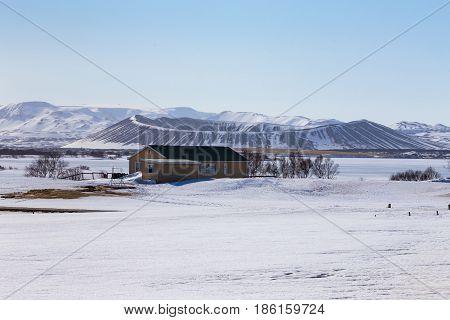 Myvatn volcano northen Iceland during winter season natural landscape background
