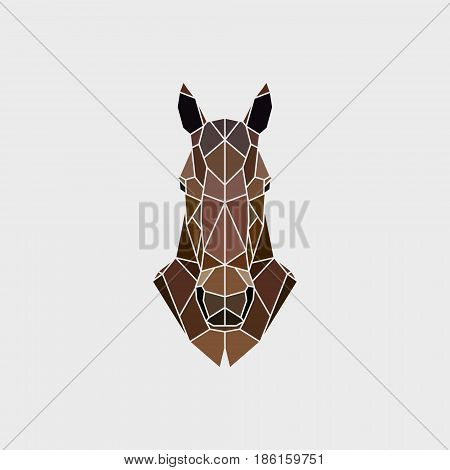 The head of a wild horse mustang in a manner of polygonal graphics. Vector illustration.