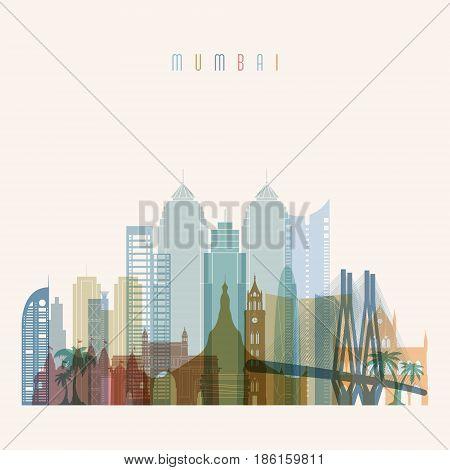 Transparent style. Mumbai skyline detailed silhouette. Trendy vector illustration.