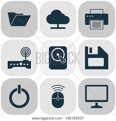 Laptop Icons Set. Collection Of Power On, Printing Machine, Computer Mouse And Other Elements. Also Includes Symbols Such As Dossier, Modem, Cloud.