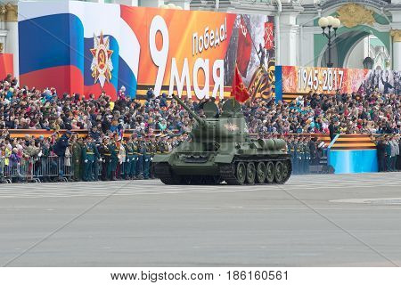ST. PETERSBURG, RUSSIA - MAY 07, 2017: Soviet T-34-85 tank on the dress rehearsal of parade in honor of Victory Day