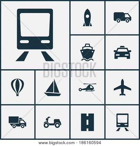 Transport Icons Set. Collection Of Chopper, Way, Van And Other Elements. Also Includes Symbols Such As Chopper, Motorbike, Truck.