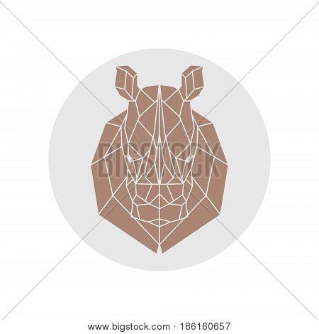Rhino head. Polygonal animal silhouette. Vector illustration.