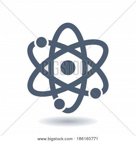 Atom sign symbol. Atom part icon. Flat design style.