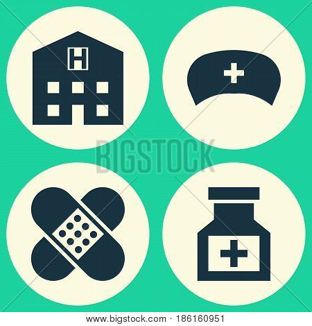 Antibiotic Icons Set. Collection Of Bandage, Cap, Retreat Elements. Also Includes Symbols Such As Drug, Hat, Pharmaceutical.