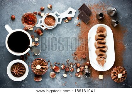 Chocolate cream with hazelnut cocoa coffee and cognac for decorating cake