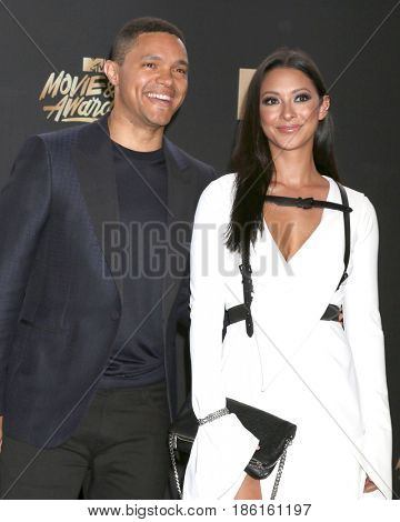 LOS ANGELES - MAY 7:  Trevor Noah, Jordyn Taylor at the MTV Movie and Television Awards on the Shrine Auditorium on May 7, 2017 in Los Angeles, CA