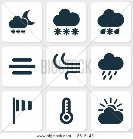 Meteorology Icons Set. Collection Of Breeze, Haze, Sun-Cloud And Other Elements. Also Includes Symbols Such As Vane, Wet, Fog.