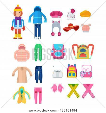 Create a character. Clothes for children in cold weather. The girl, dressed in warm, diverse clothes, is fully prepared for the cold weather. Colorful flat illustration isolated on white background.