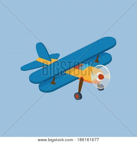 Air vehicles. Front side view of airplane biplane with piston engine and propeller. Modern vector illustration isolated on white background.