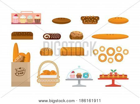 Set of bakery products food and elite bread, bakery items and sweets. Bakery showcase. Vector illustration isolated on white background in cartoon style.