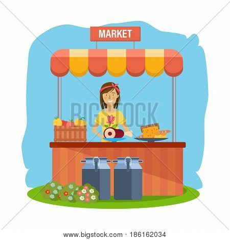 Organic health market. Pure natural food, agriculture, clean environment, farming, shopping. Cashier sells eco products. Vector illustration isolated on white background in cartoon style.