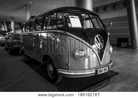 STUTTGART GERMANY - MARCH 02 2017: Minibus Volkswagen Transporter T1 Samba 1955. Black and white. Europe's greatest classic car exhibition