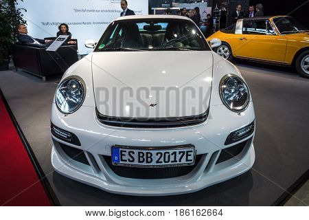 STUTTGART GERMANY - MARCH 02 2017: An all-electric sports car eRuf Model A (based on Porsche 911) 2011. Europe's greatest classic car exhibition