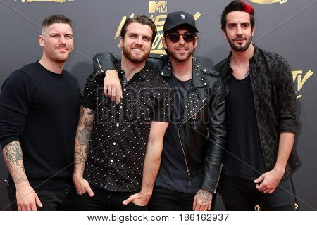 LOS ANGELES - MAY 7:  All Time Low, Zack Merrick, Rian Dawson, Alex Gaskarth. Jack Barakat at the MTV Movie and Television Awards on the Shrine Auditorium on May 7, 2017 in Los Angeles, CA